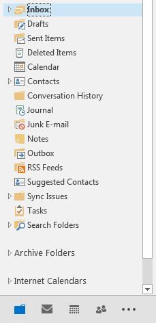 outlook 2013 folder view screenshot