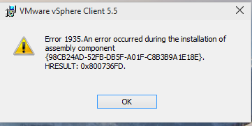 Can't install VMware vSphere Client 5 5
