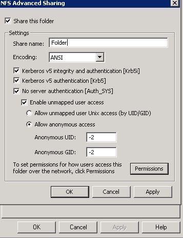 Permission Denied on Solaris 10 NFS share, shared trough Windows