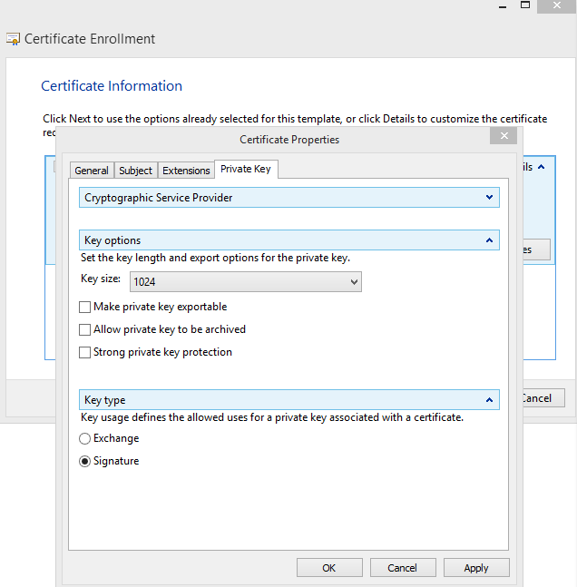 Creating a custom certificate request no key type option available private key tab doesnt appear this way i havent made any of the configurations that it asks you to make on this page key options is in the center yelopaper Images
