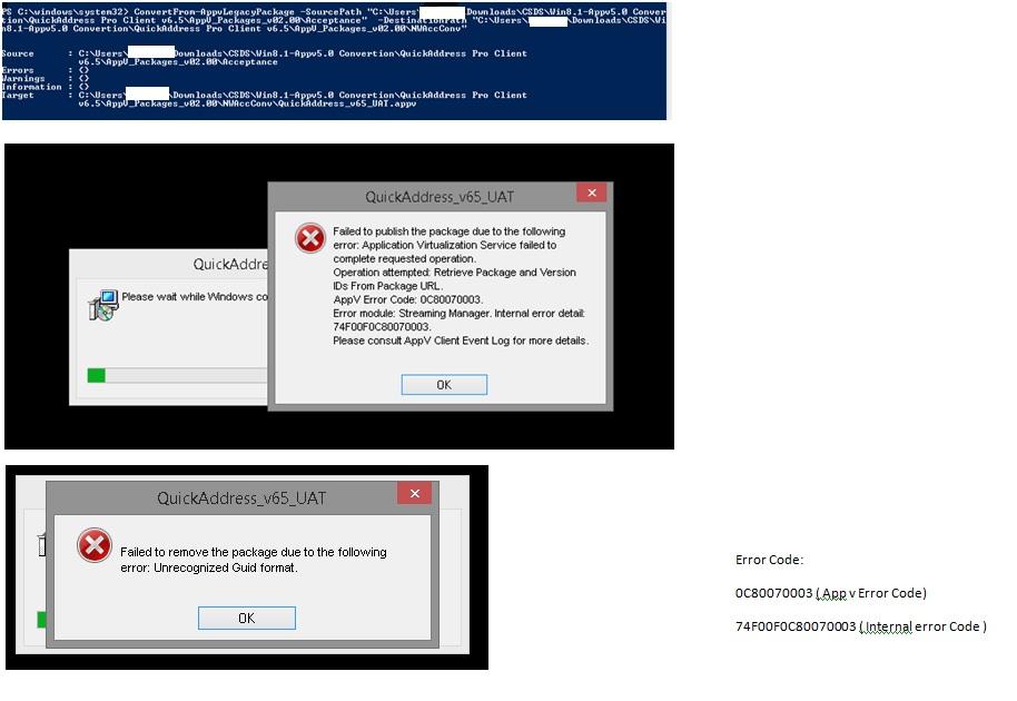 AppV5 client converstion_Installation Error Code:  0C80070003 ( App v Error Code) 74F00F0C80070003 ( Internal error Code )