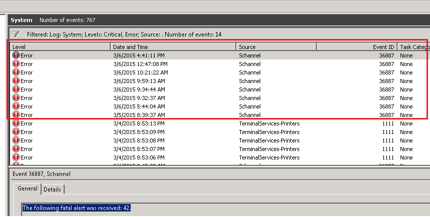 Exchange 2010 SP3 - schanell errors