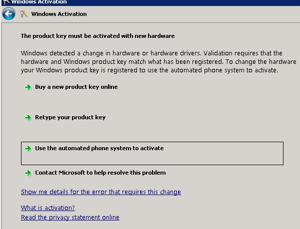 activate windows 2008 r2 server by phone