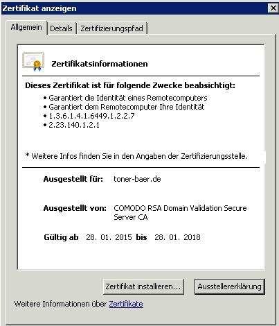 Zertifikat Fehler im Outlook