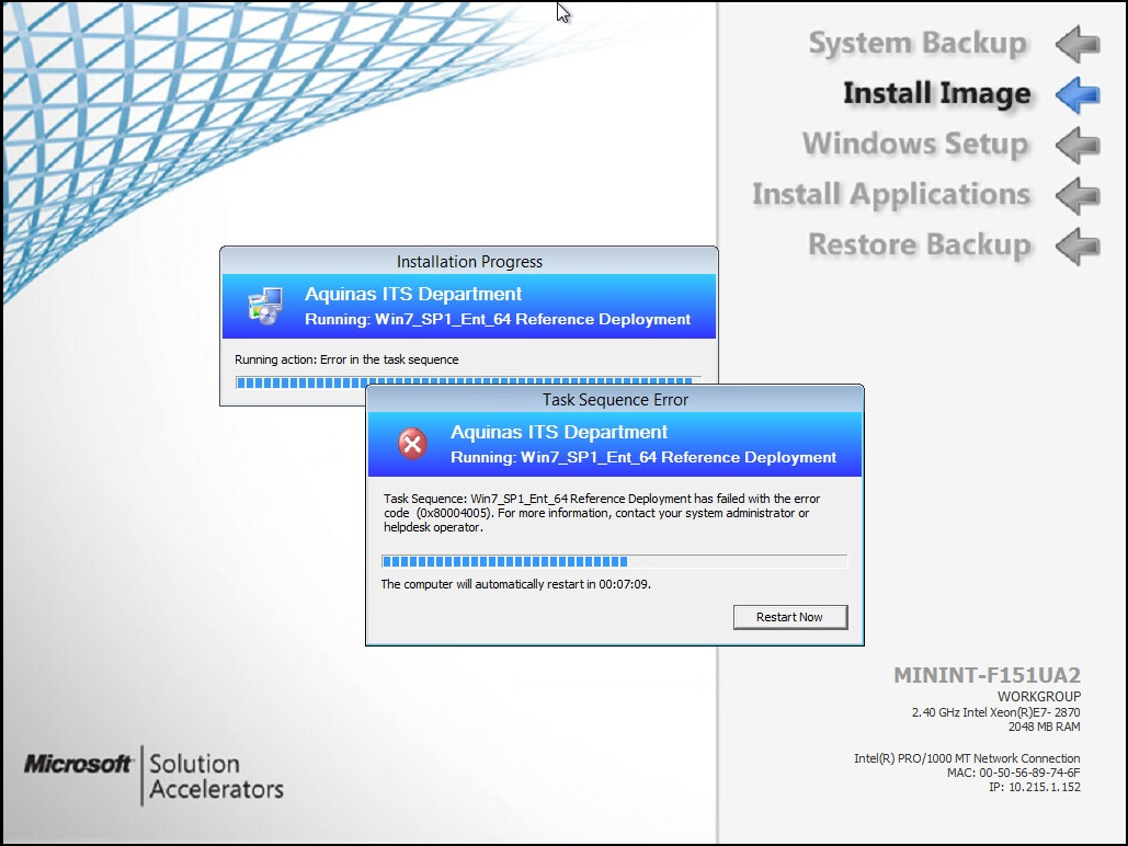 SCCM 2012R2/MDT 2013 OSD Task Sequence failes with 0x80004005