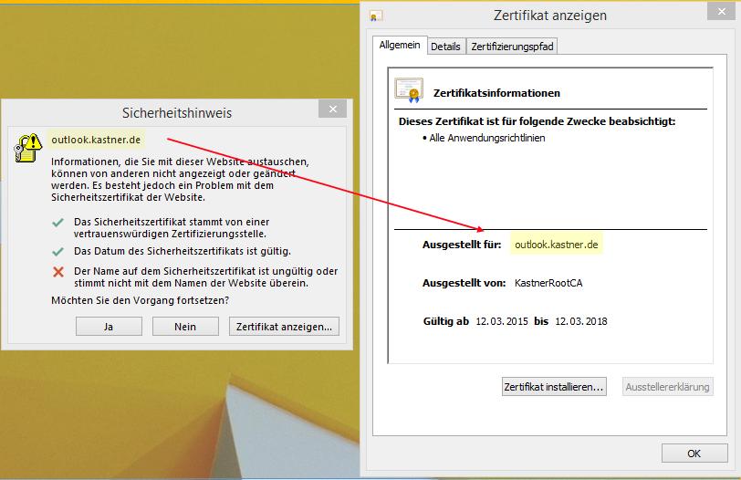 Windows 8.1 / Outlook 2013 akzeptieren Exchange 2010 Zertifikat nicht