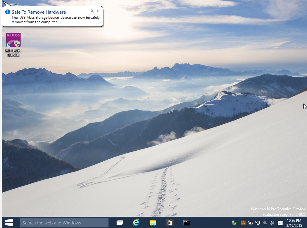 Windows 10 Pro Technical Preview - Balloon Notification issues