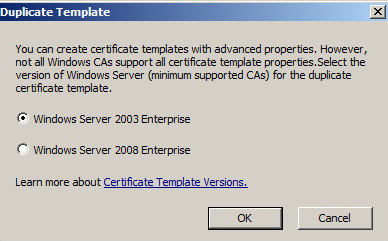 No certificate templates could be found you do not have i selected 2008 ok in the screenshot 2003 is selected by default yadclub Choice Image
