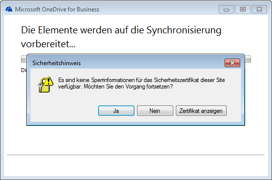 OneDrive for Business - Synchronization Problem with SSL on premise