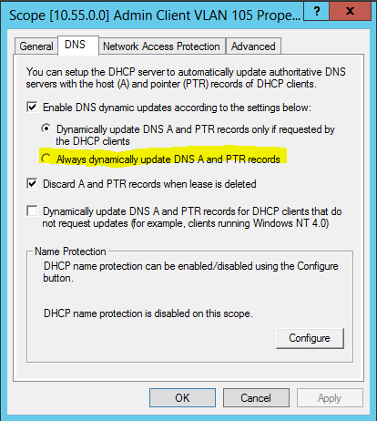 Enable dynamic updating dns
