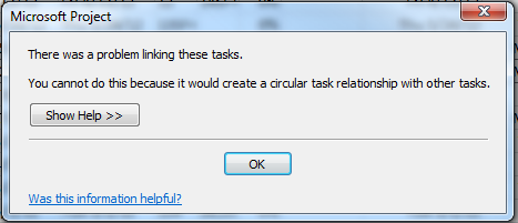 Project Server 2010 circular task links