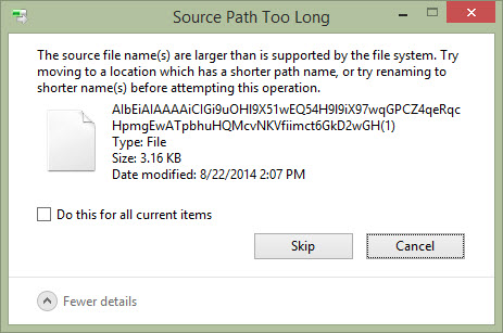 Cannot Delete files and folders - Source Path Too Long