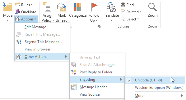 Why Outlook email messages show unreadable characters