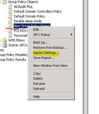 Import Settings from a backup policy