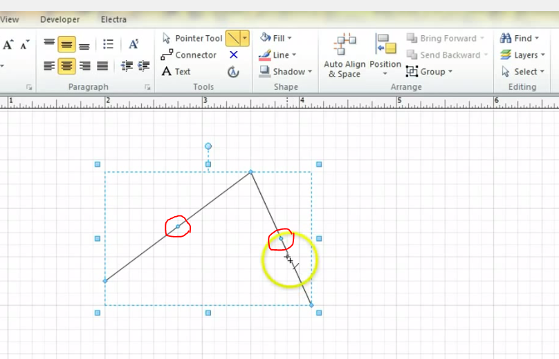 Drawing Lines In Visio : Converting straight line to neat curve arc in visio