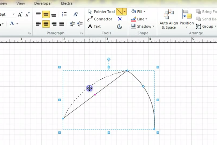 Visio Drawing Lines With Curves : Converting straight line to neat curve arc in visio