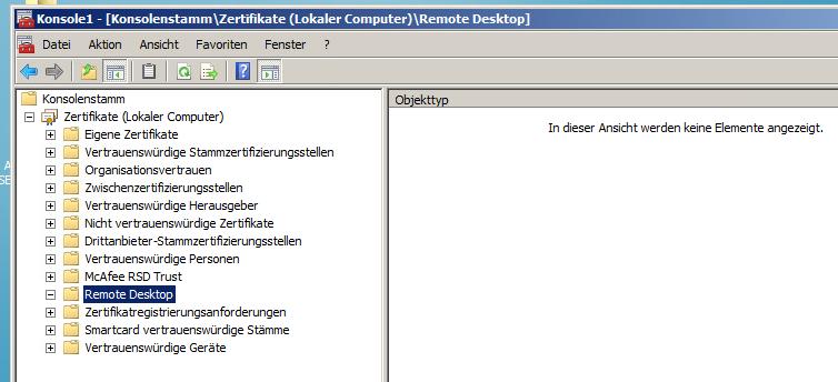 Remote Desktop Zertifikat 2008R2