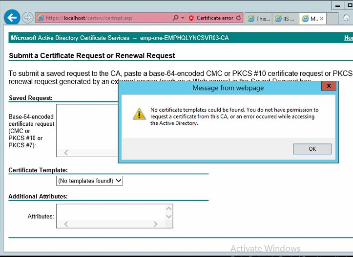 Certificate error template not found link httpssocialtechnetmicrosoftforumswindowsserveren us5be22856 0598 46c1 b334 1ec4a81100d2ca no certificate templates could be found yelopaper Images