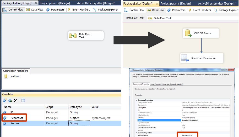 Setting a variable with multiple rows in SSIS