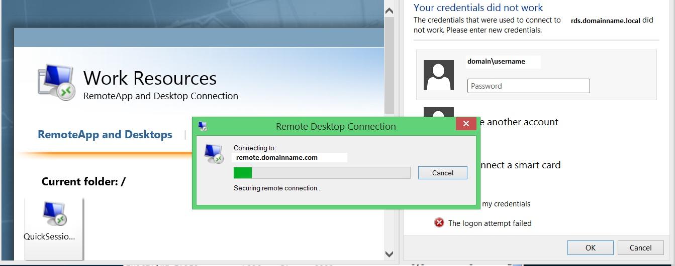 Server 2012 RDWeb internal / external domain name mismatch