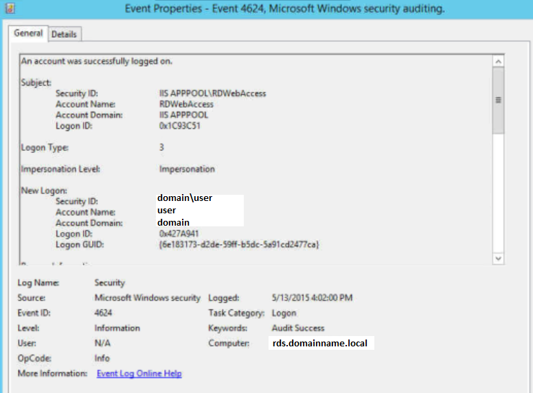 Server 2012 RDWeb internal external domain name mismatch