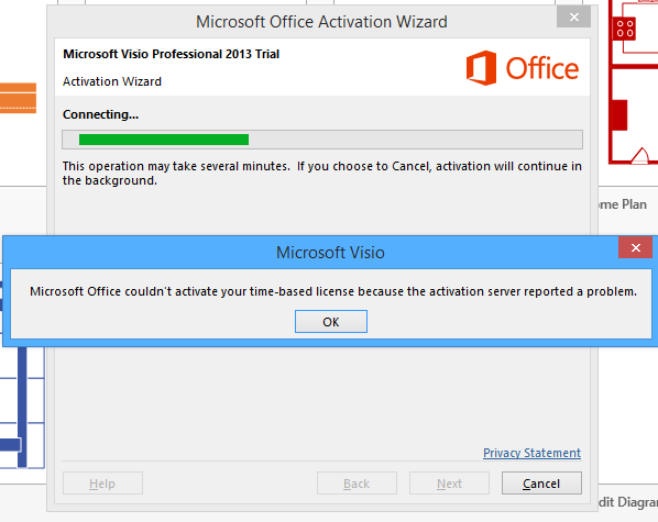 when i again login into office 365 account i getting back my 9 days of trial but still not activated visio - Visio Microsoft Trial