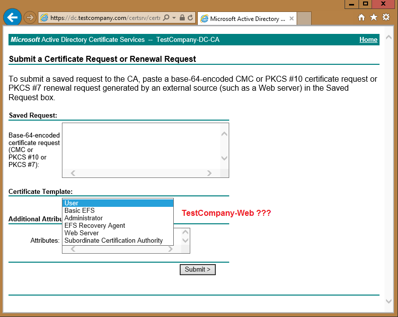 Certificate templates permissions i have a test certificate template in my test lab testcompany web that id like to use when requesting a certificate for my exchange server yadclub