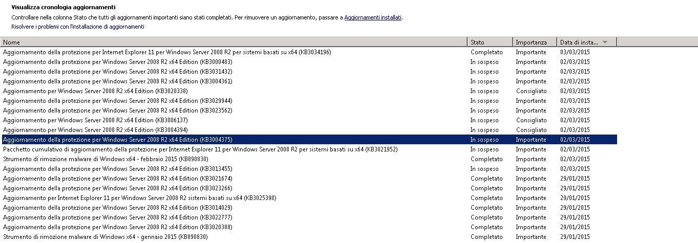 Problema Windows Update - Windows Server 2008 Standard R2
