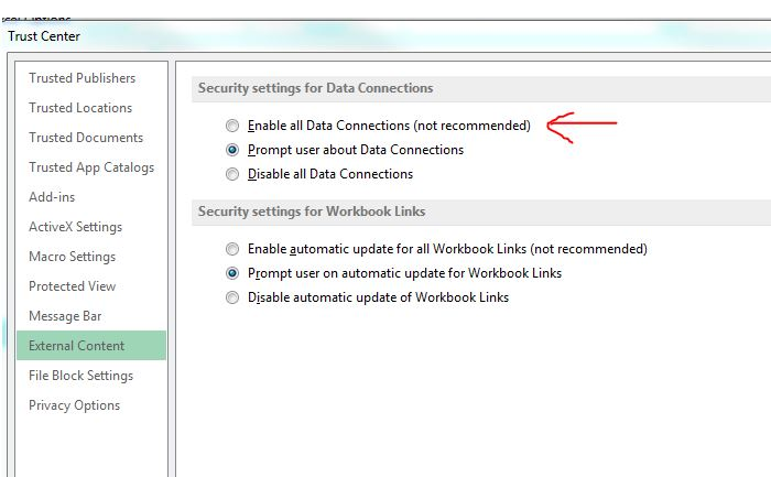 Excel 2013 report - External Data Connections have been