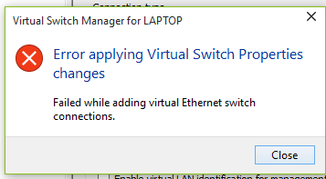 Image result for adding ports to the switch failed hyper v