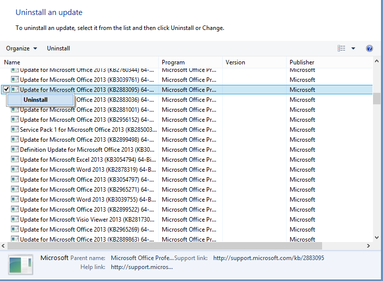 Office 2013 updates clogging up disk space