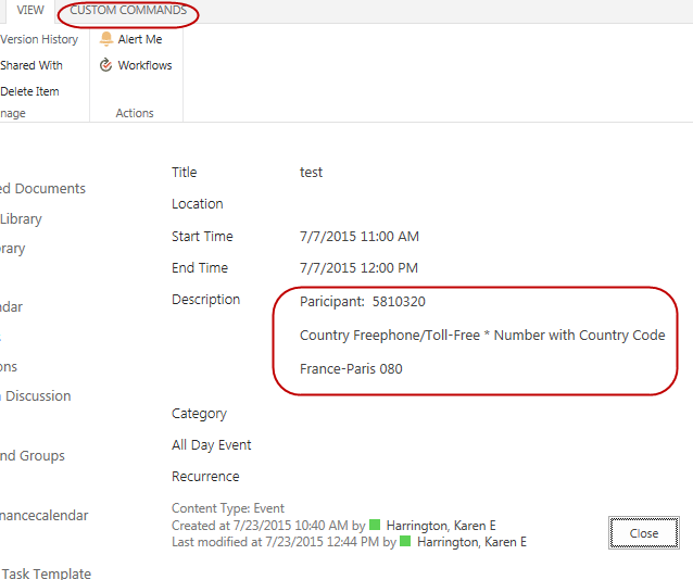 SharePoint View of Event and Description