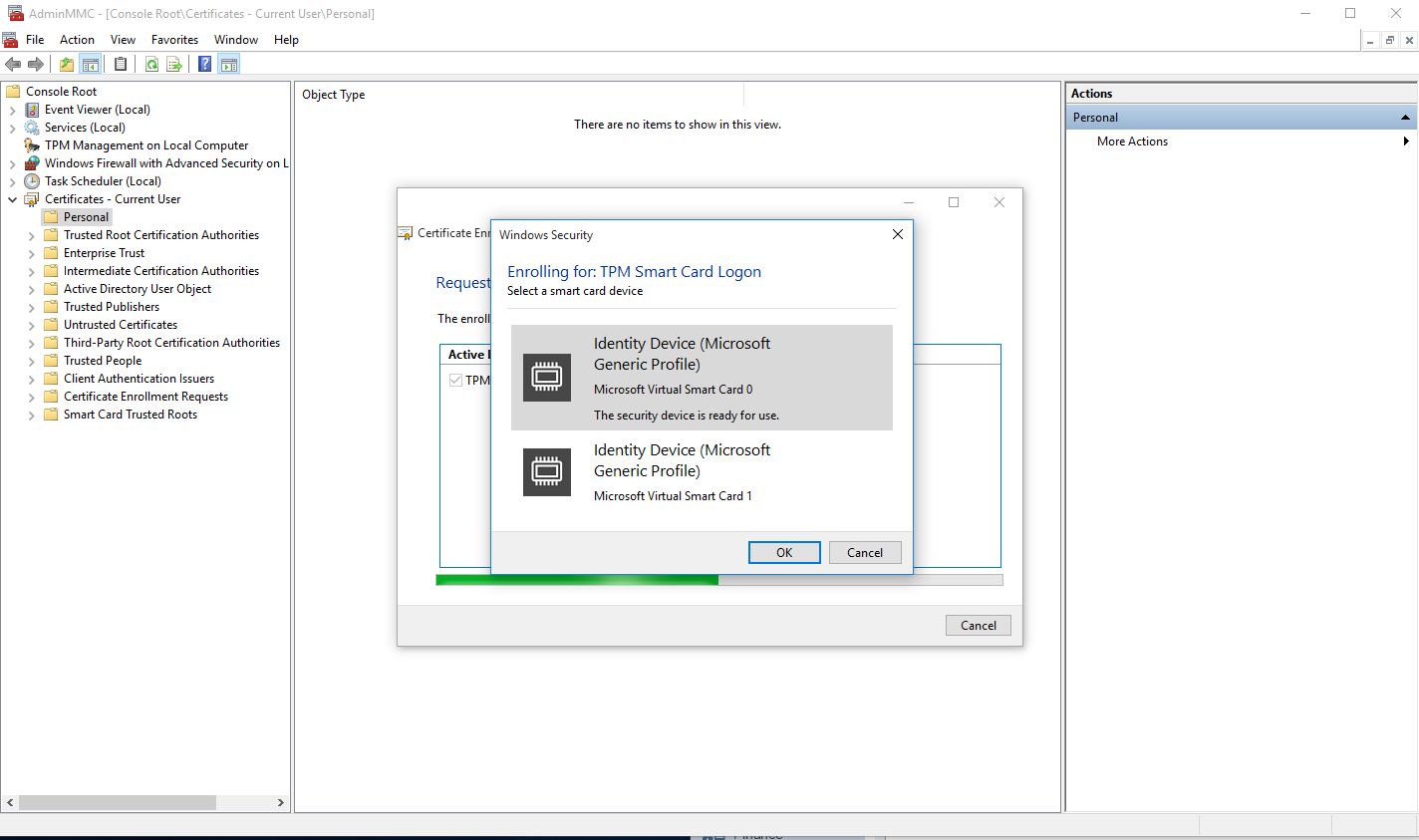 Unable to request virtual smart card certificate for multiple on the same computer when i go to request the certificate i get a dialog box asking me which vsc to request the certificate for see the image xflitez Images