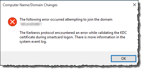 Kerberos protocol encountered an error while validating
