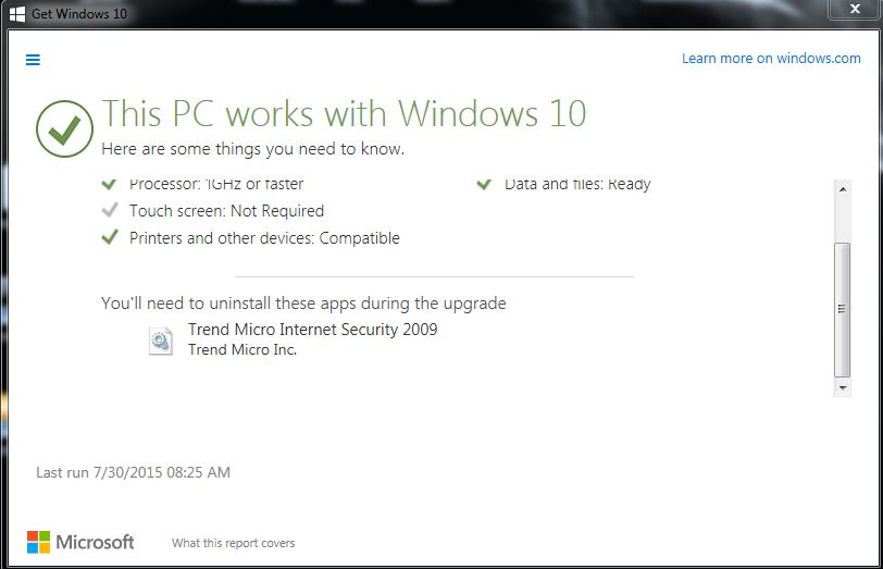Can't install Windows 10 due to trend micro internet security 2009