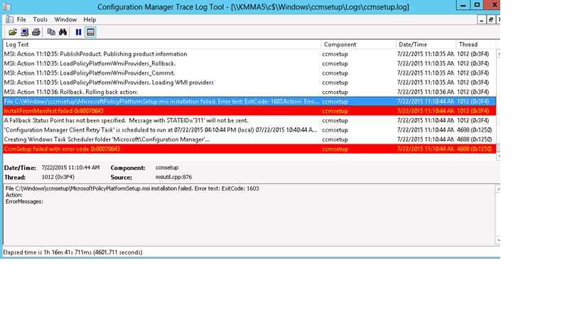 Installation Failed With Error Code 1603 Ccmsetup