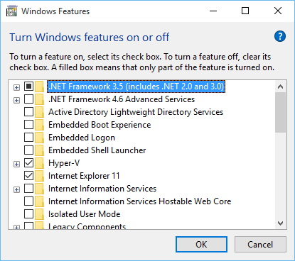 Features with .NET 3.5 installed