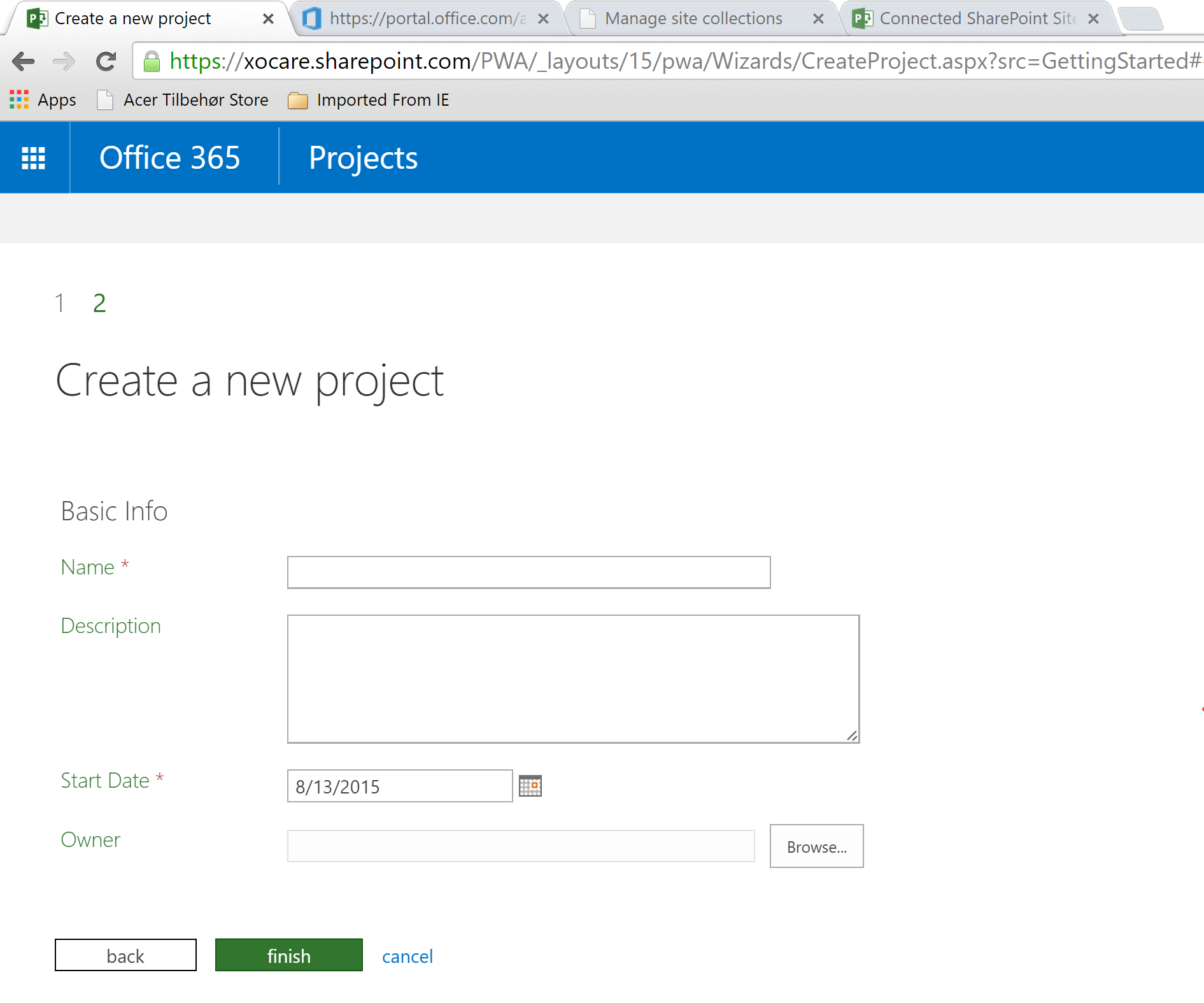 Create An Enterprise Project With Web Address In Project