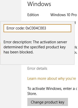 my product key has been blocked