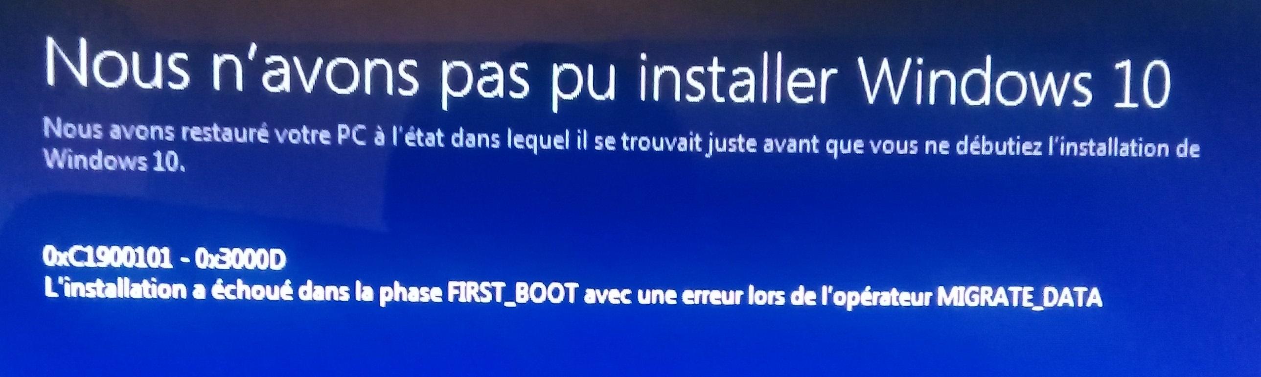 aider avec l'erreur d'installation de Windows 10