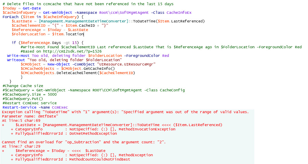 Powershell Script to Clear CCM Cache on Server 2003