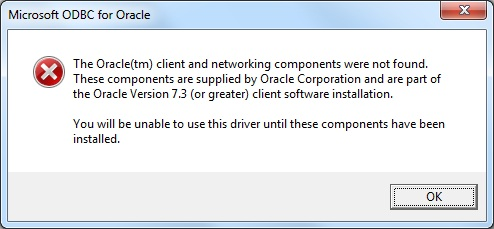 Microsoft ODBC for Oracle - Fail to create