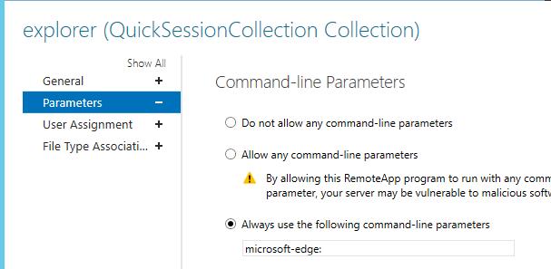 Microsoft Edge browser in RDSH