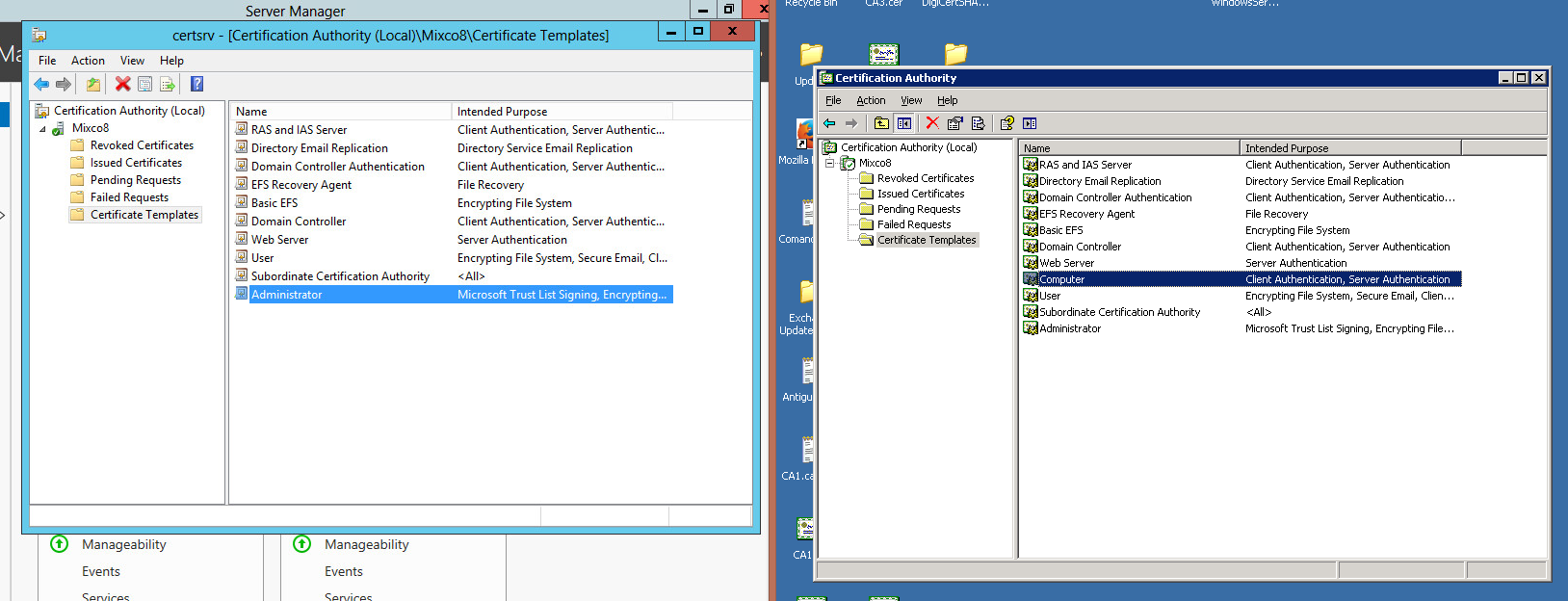 Certificate templates not available in ca image collections certificate template in the console root ca of windows 2012 i see the computer certificate template yelopaper Choice Image