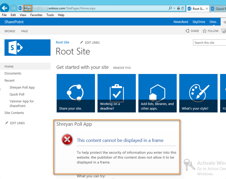 Configure SharePoint 2013 Apps and iFrame error