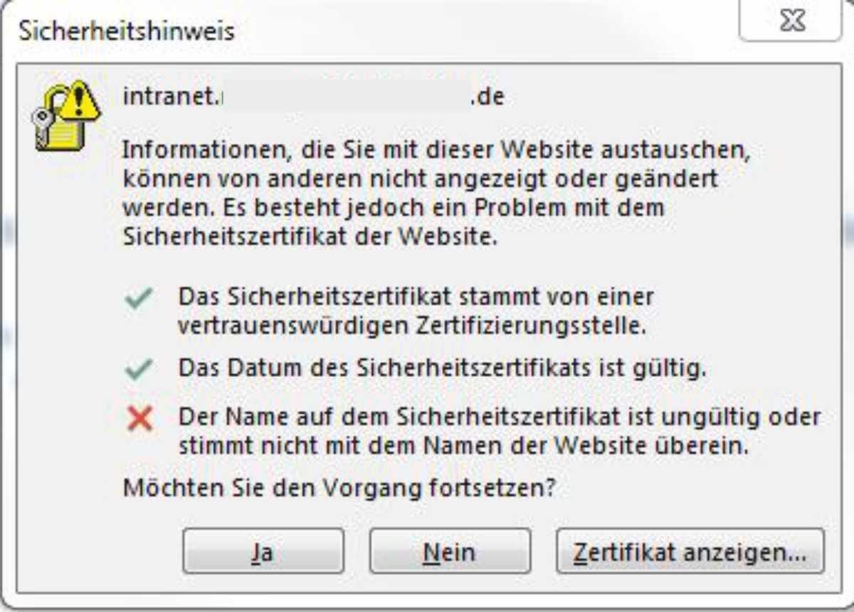 lästiger Sicherheitshinweis beim starten von Outlook (Exchange 2010)