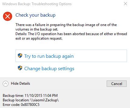 Windows 10 Backup Error 0x807800C5