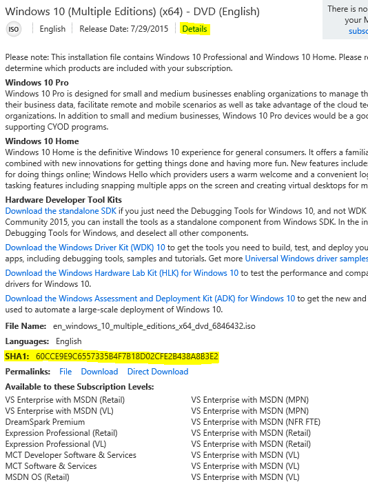 SHA-1 hash value for Windows 10 Pro 64 bit not listed on MSDN