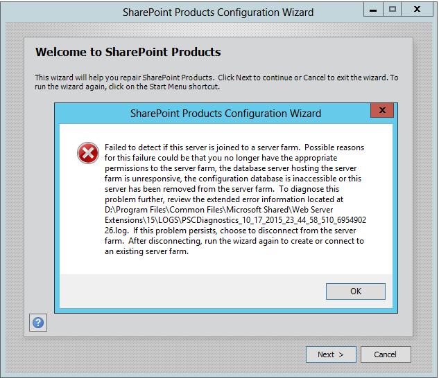 Sharepoint Configuration Error