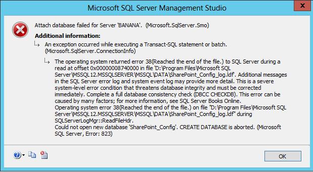 SQL Configuration Error